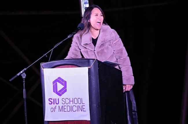 Dr. Pimple Popper at SIU Medicine Event at the Podium